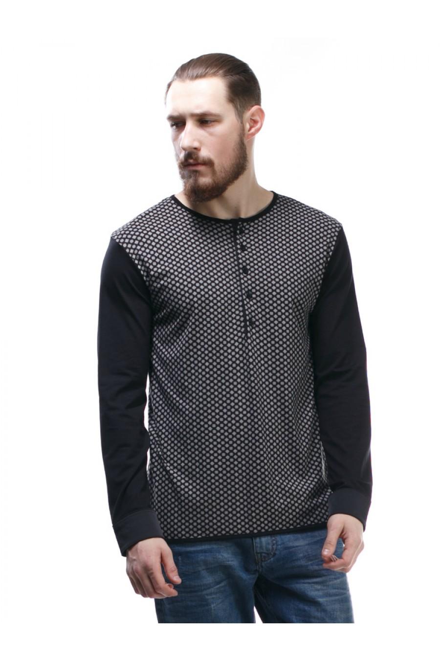 Черный свитер мужской с манжетами G-306