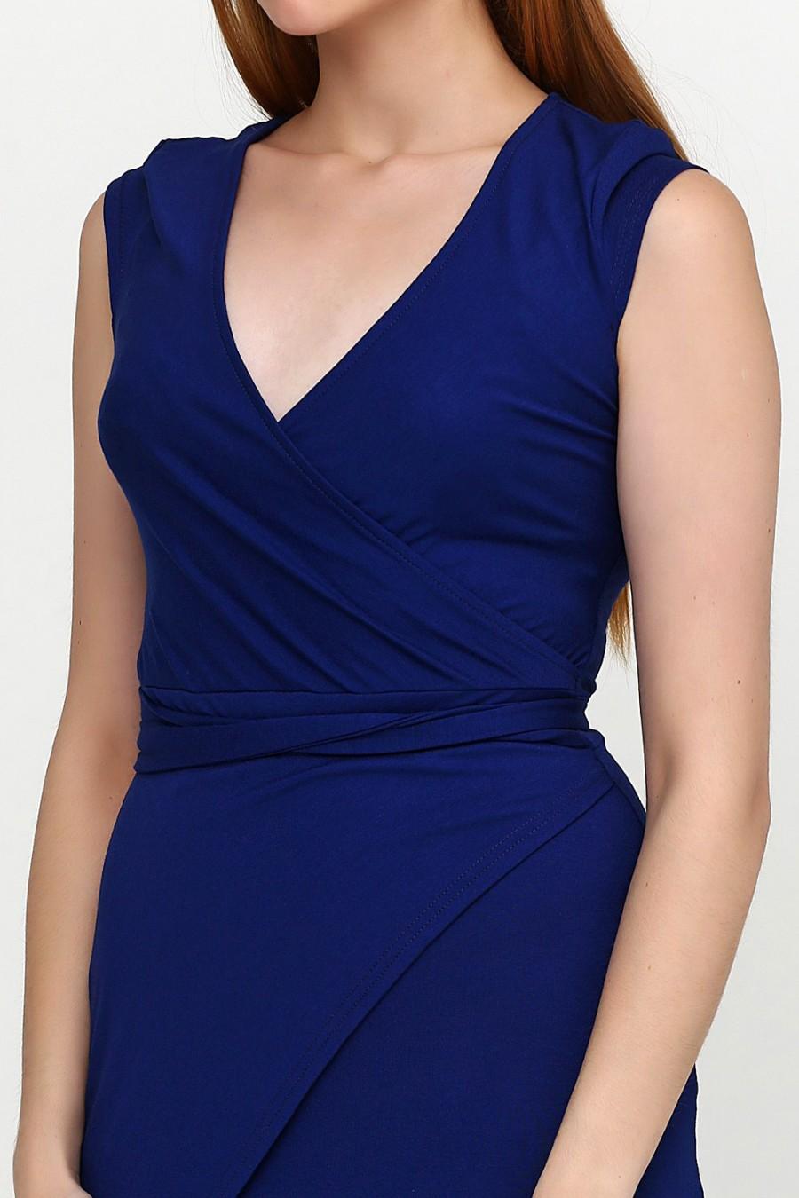 Синие трикотажные платья  V-3018-3
