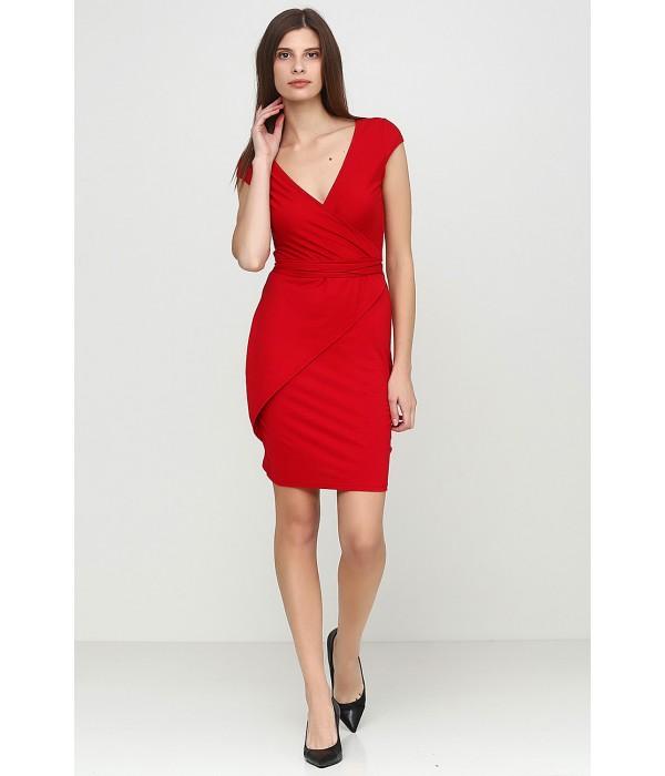 Красное трикотажное платье V-3018-5