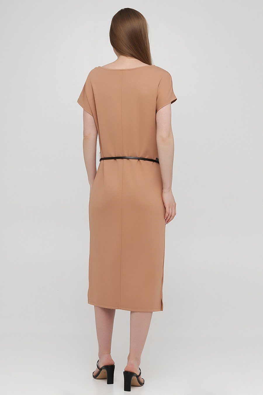 Бежевое трикотажное платье ANNA FIELD