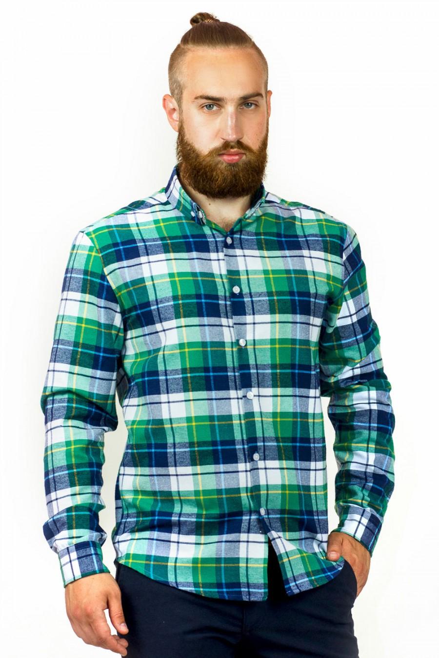 Зеленая клетчатая рубашка S-109